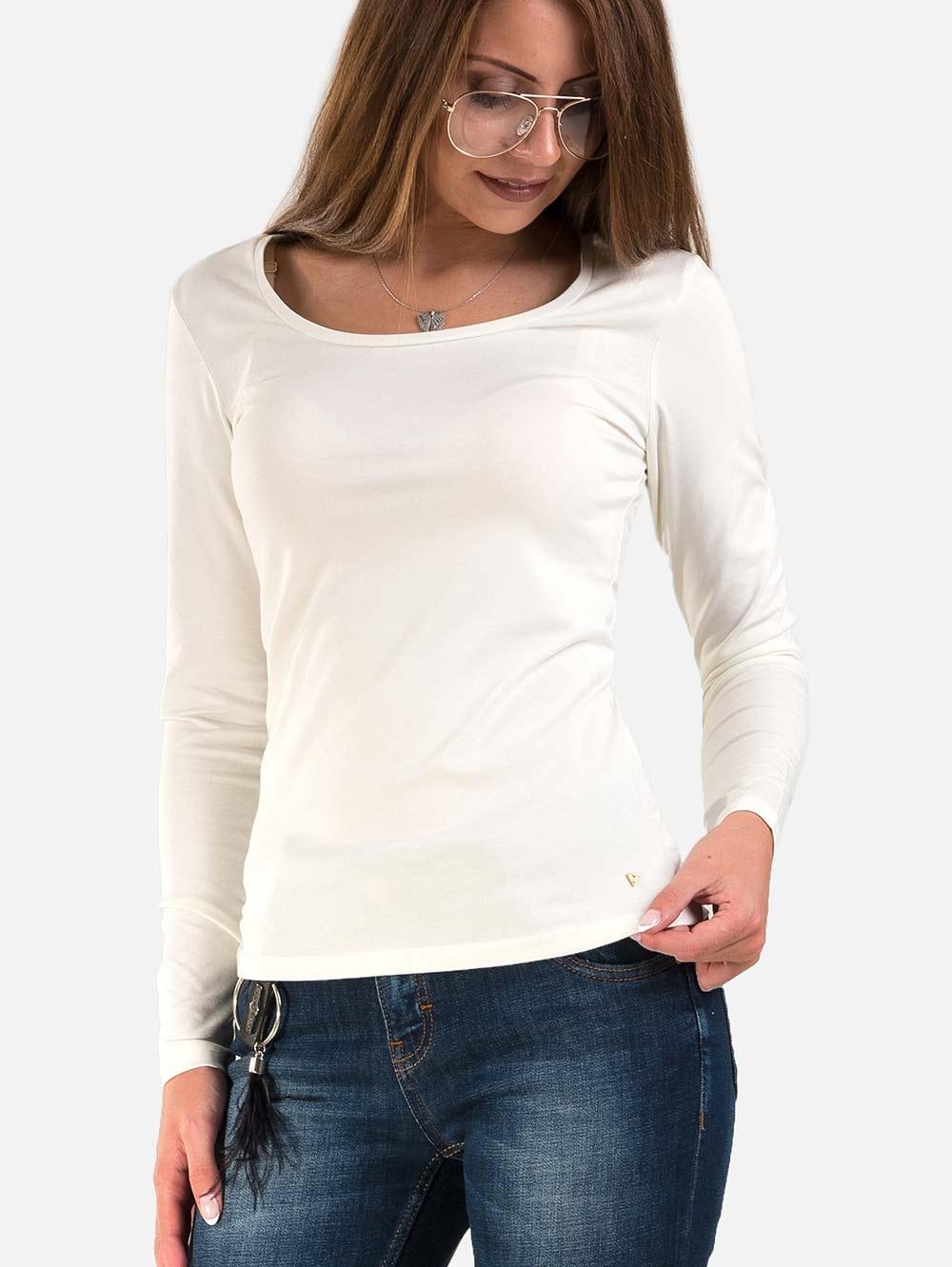 be2f3a47637 Ежедневна блуза с овално деколте - цвят екрю   Блузи с дълъг ръкав от  INDIGO Fashion