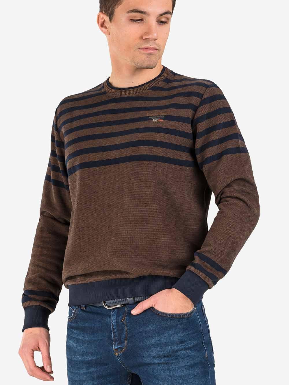 5bab5a8eb8d Мъжки кафяв пуловер MCL - големи размери   Пуловери от INDIGO Fashion