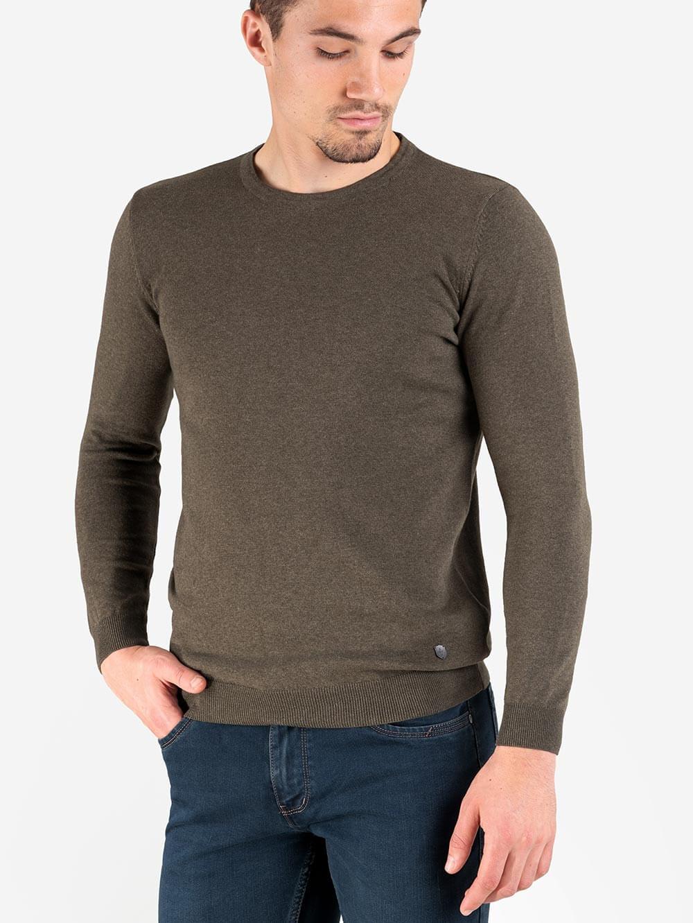 0fa3da1f96b Мъжки пуловер обло бие- цвят каки   Пуловери от INDIGO Fashion