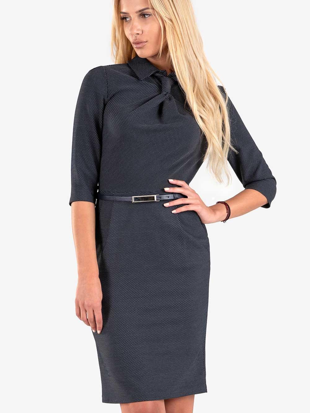 1737b8b2fc9 Тъмносиня рокля с имитация на вратовръзка | Елегантни рокли от INDIGO  Fashion