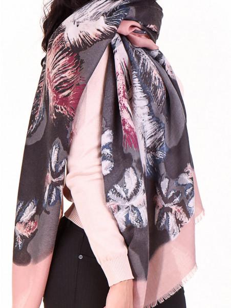 Дамски шал в многоцветен принт INDIGO 10168 - цвят пудра D