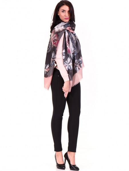Дамски шал в многоцветен принт INDIGO 10168 - цвят пудра