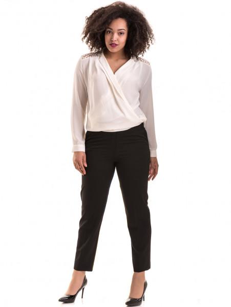 Елегантен дамски панталон F.L.M с колан 524 - черен C
