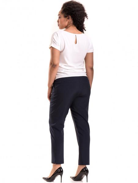 Елегантен дамски панталон F.L.M. с колан 533 - син E