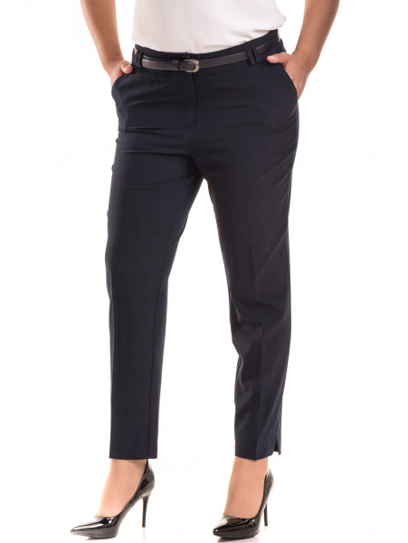 Елегантен дамски панталон F.L.M. с колан 533 - син