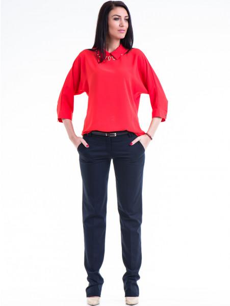 Дамски панталон F.L.M  с колан 961 - тъмно син C