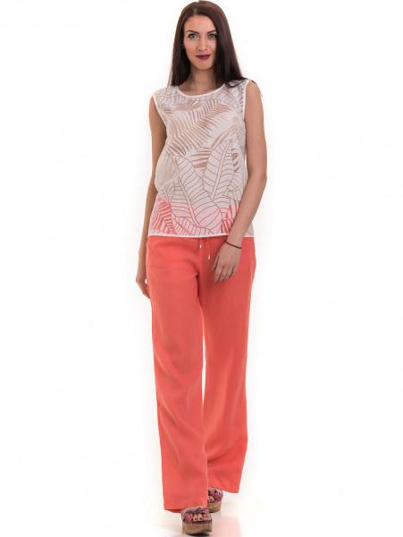 Ленен дамски панталон XINT 330 - цвят корал C