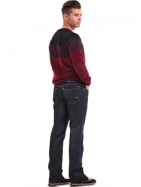 Класически мъжки дънки LACARINO 1885 с колан - тъмен деним E