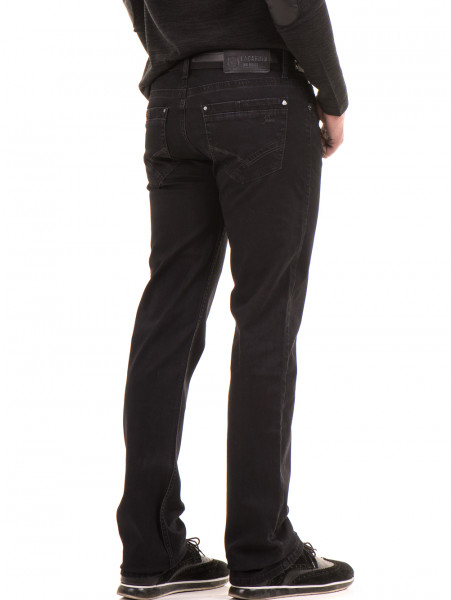 Класически мъжки дънки LACARINO 2085 с колан - черен деним B