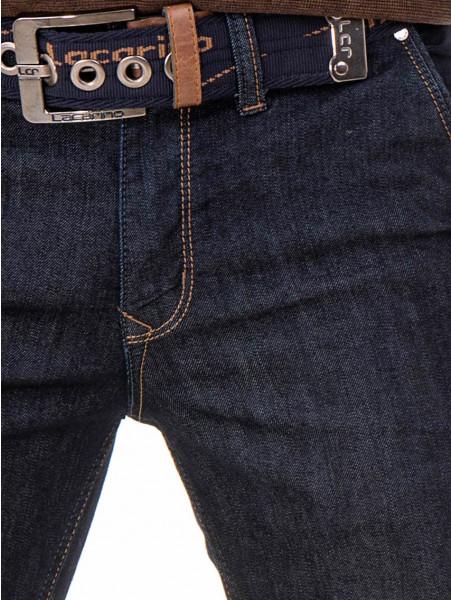 Мъжки класически дънки LACARINO 2678 с колан - тъмен деним D