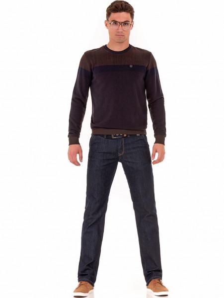 Мъжки класически дънки LACARINO 2678 с колан - тъмен деним C