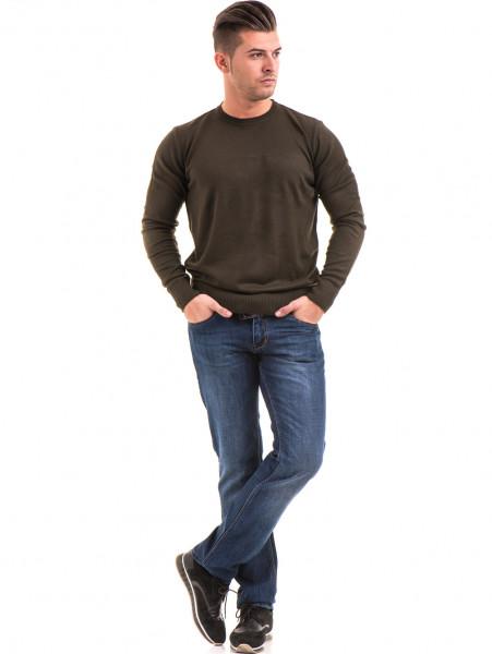 Мъжки класически дънки LACARINO 2888 с колан - тъмен деним C1