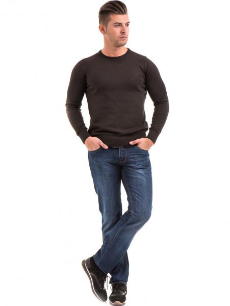 Мъжки класически дънки LACARINO 2888 с колан - тъмен деним C