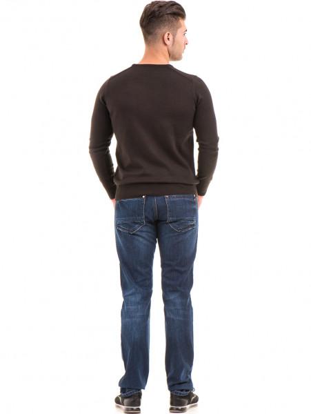 Мъжки класически дънки LACARINO 2888 с колан - тъмен деним E