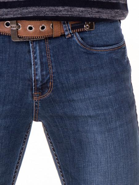 Мъжки класически дънки LACARINO 2941 с колан - тъмен деним D