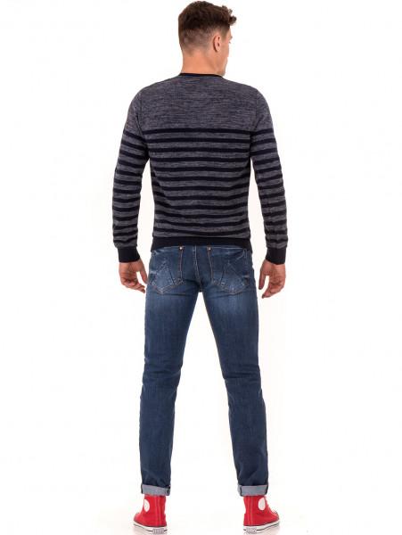 Мъжки класически дънки LACARINO 2941 с колан - тъмен деним E