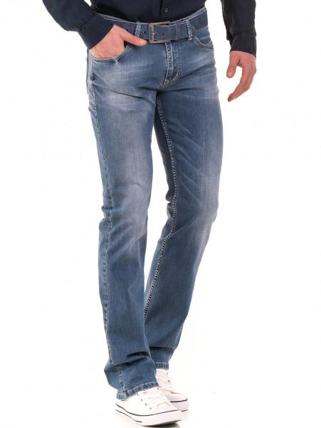 Мъжки класически дънки LACARINO 3186 с колан - деним