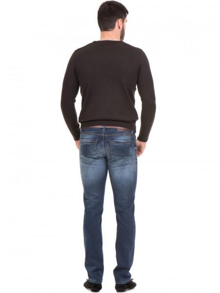 Мъжки слим фит дънки LACARINO 3723 с колан - тъмен деним E
