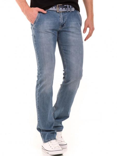 Мъжки класически дънки LACARINO 3861 с колан - светъл деним