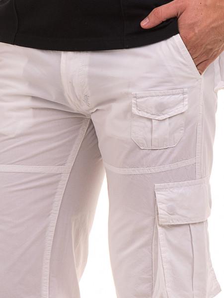 Мъжки спортен панталон JUNKER с колан 35442 - бял D