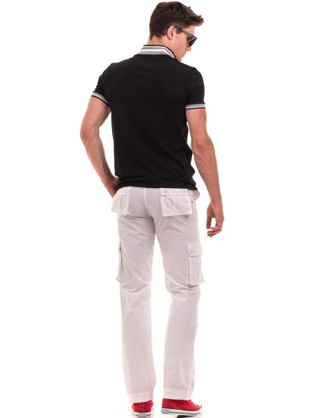 Мъжки спортен панталон JUNKER с колан 35442 - бял E