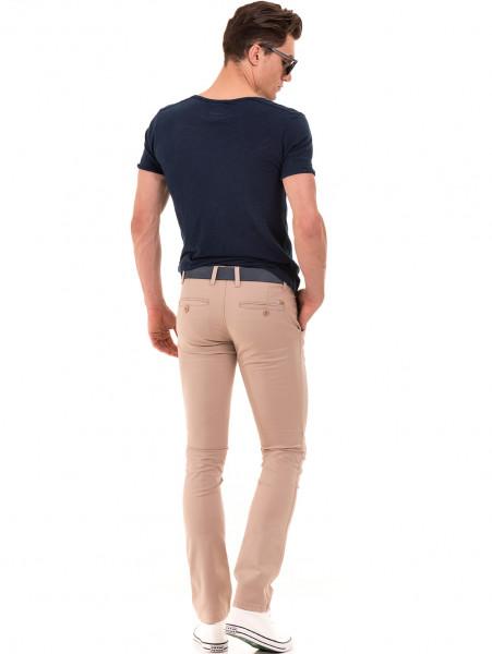 Слим фит мъжки панталон LACARINO - светло бежово E