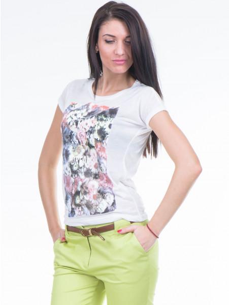 Дамска тениска с флорален десен JOGGY GIRLS 4862 - цвят екрю