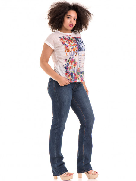 Дамска блуза с флорални мотиви JOGGY GIRLS 5278 - цвят бял C