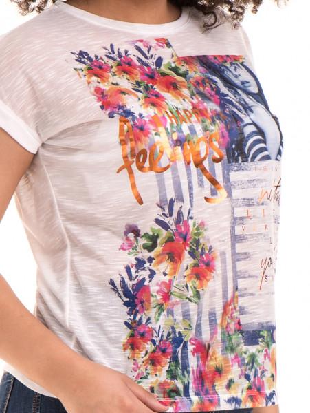 Дамска блуза с флорални мотиви JOGGY GIRLS 5278 - цвят бял D
