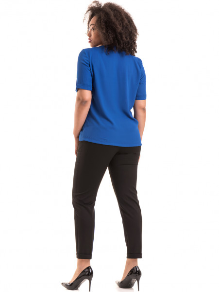 Дамска елегантна блуза SERFA 3455  с колие - синя E