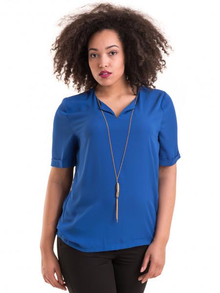 Дамска елегантна блуза SERFA 3455  с колие - синя