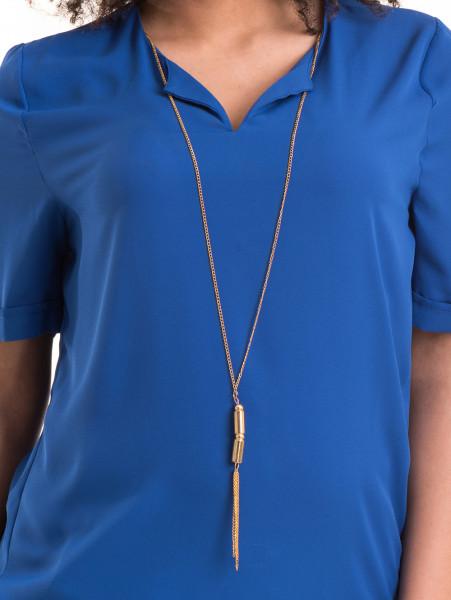 Дамска елегантна блуза SERFA 3455  с колие - синя D