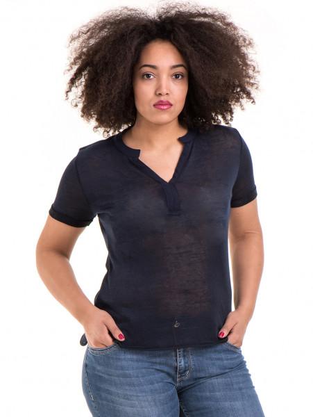 Дамска блуза с V-образно деколте STAMINA 101 - тъмно синя