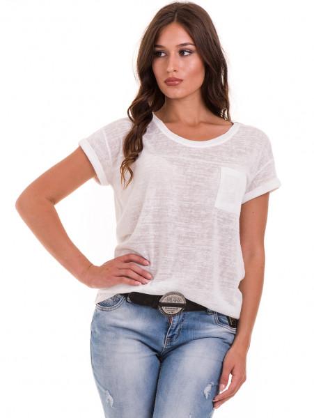 Дамска блуза свободен модел XINT 028 - цвят екрю