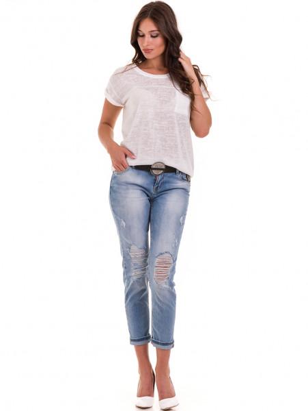 Дамска блуза свободен модел XINT 028 - цвят екрю C