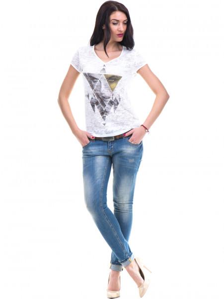 Дамска блуза с щампа XINT 036 - цвят екрю C
