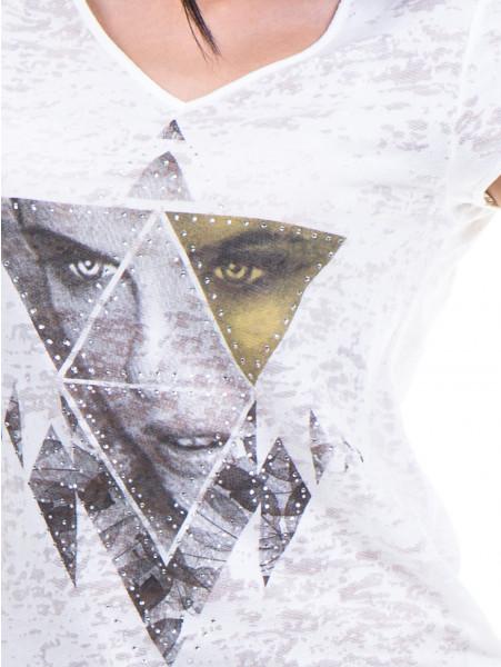 Дамска блуза с щампа XINT 036 - цвят екрю D