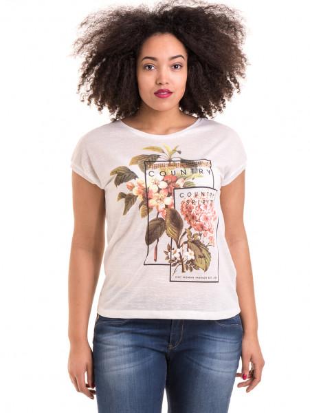 Дамска блуза с флорални мотиви XINT 057 - цвят екрю