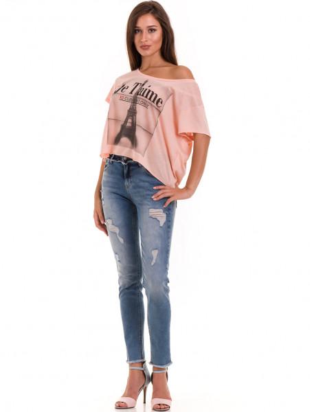 Дамска блуза свободен модел XINT 617 - цвят праскова C