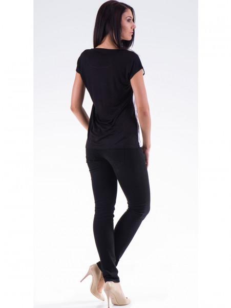 Дамска блуза с щампа XINT 777 - черна E