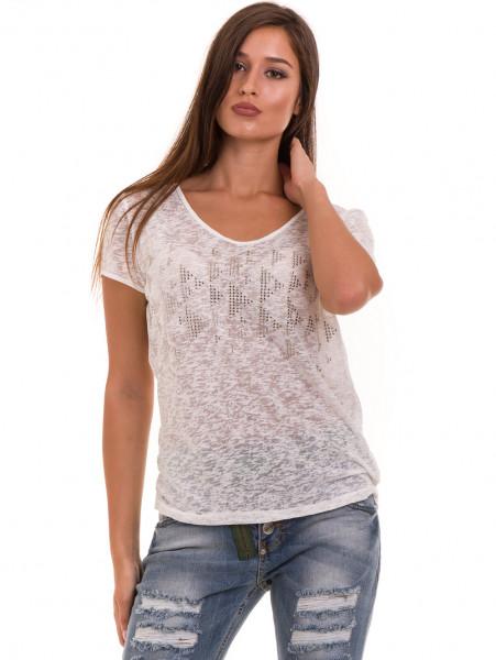 Дамска блуза свободен модел XINT 805 - цвят екрю