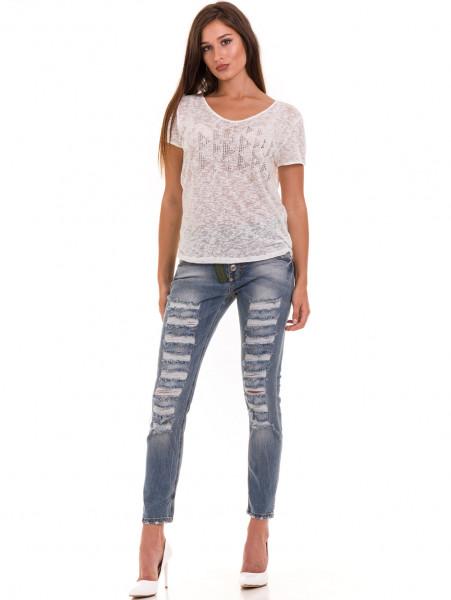 Дамска блуза свободен модел XINT 805 - цвят екрю C