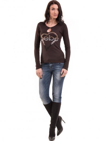 Дамска блуза слим фит модел- цвят кафяв В