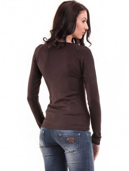 Дамска блуза слим фит модел- цвят кафяв Б