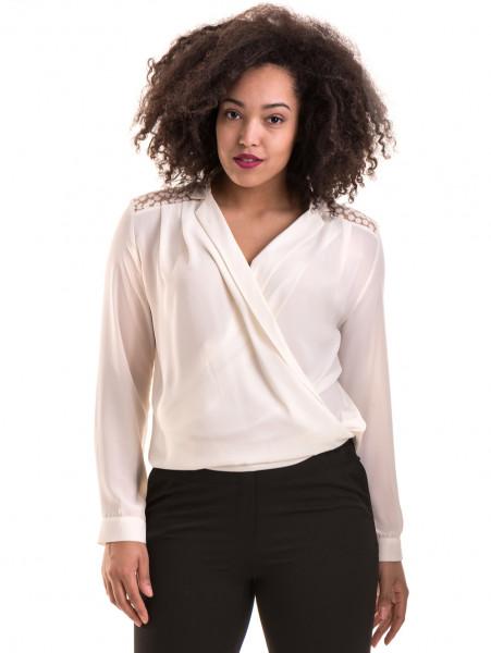 Елегантна дамска блуза 06216 - цвят екрю