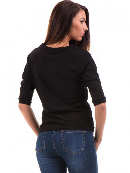 Дамска блуза JOGGY GIRLS с щампа-надпис 5494 - черна B