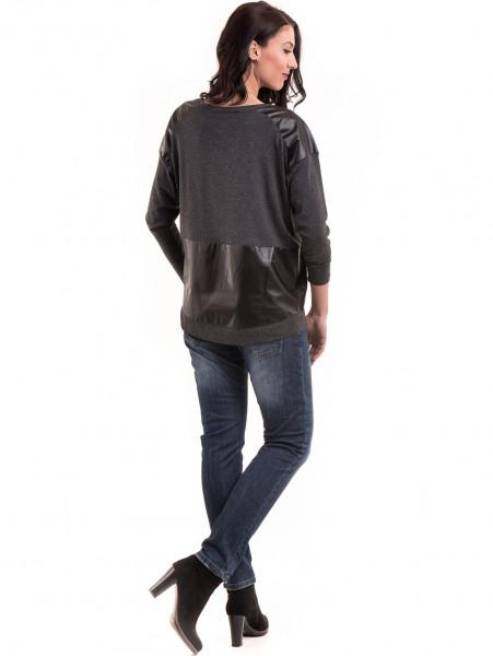 Дамска блуза свободен модел с колие 22748 - цвят антрацит E