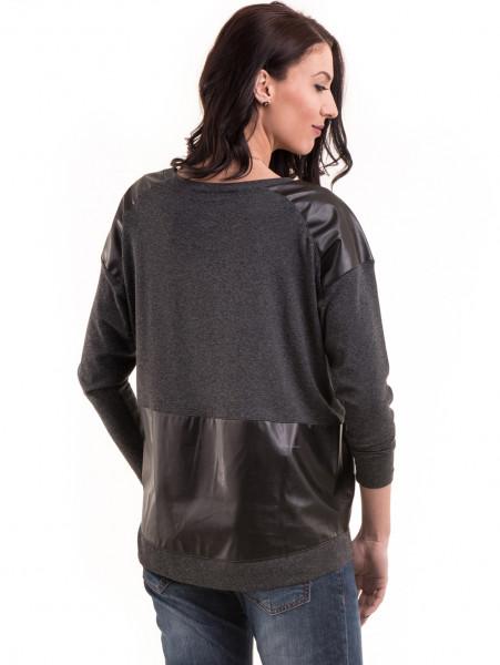 Дамска блуза свободен модел с колие 22748 - цвят антрацит B