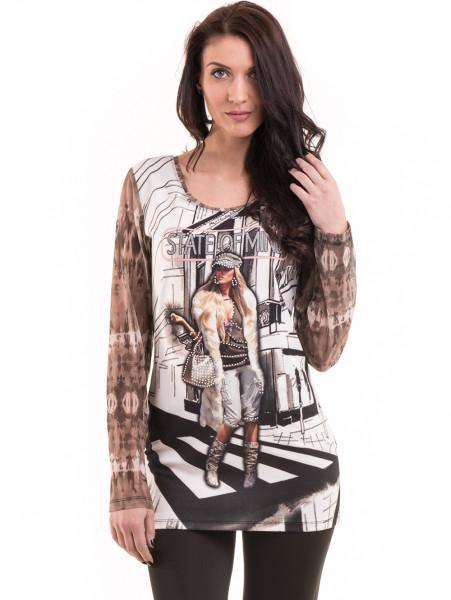 Дамска блуза с щампа LOVE COUSTUME  183 - тъмно бежова