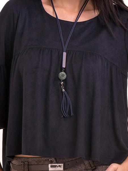 Дамска блуза MACCA с ръкав тип камбана и колие 604 - тъмно синя D